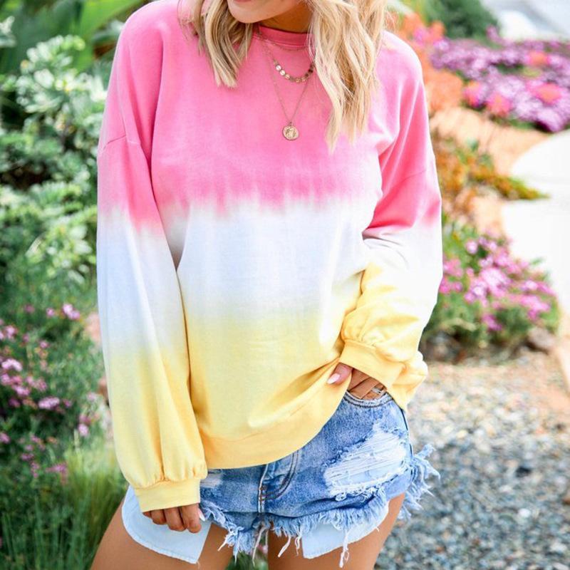 Femmes Automne Designer T-shirts de mode arc-en dégradé de couleur à manches longues encolure ras du cou en vrac T-shirt Femmes Hauts
