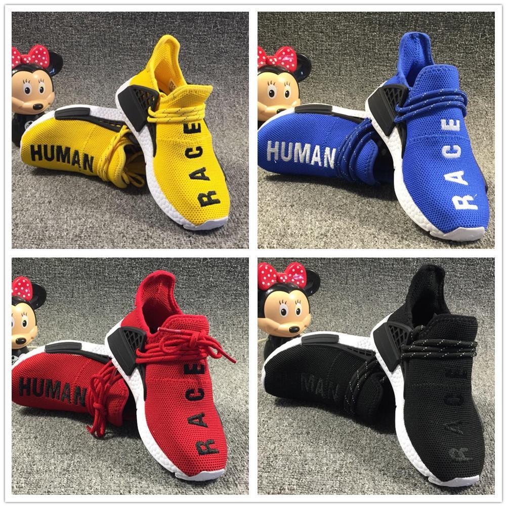 hot sales 003e7 0da47 2019 2019 Human Race NMD Runing Shoes Kids Boys Girls Solar Pack Black  Yellow PW HU HOLI Pharrell Williams Children Designer Sport Sneakers From  ...