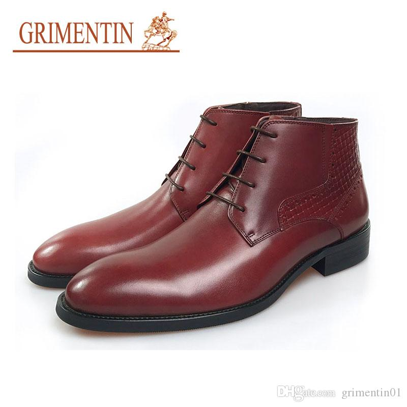 GRIMENTIN stylish men boots 2020 genuine leather ankle fashion designer men business wedding formal shoes hot sale brand dress boots shoes