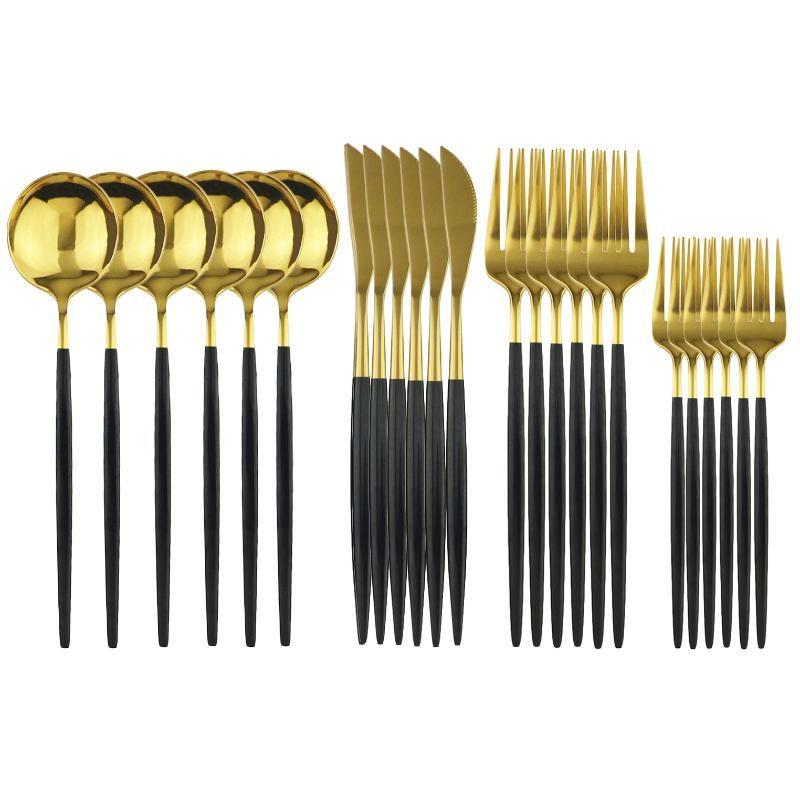 24pcs / Set Black Gold Louça Faqueiro Sobremesa Fork Flatware Set 18/10 Stainless Stee Louça Cozinha Talheres
