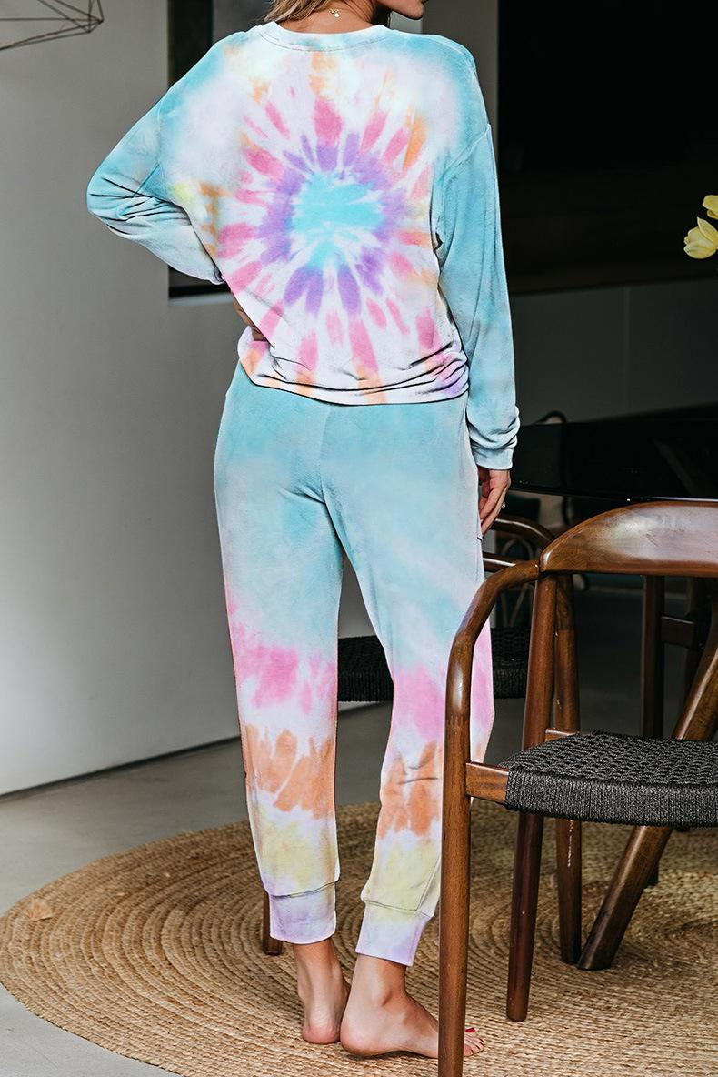 Gratuit pour Dhl Pyjama Tiedye Femme Pigiama Da Donna Per GIROCOLLO Tye Dye court mauve Outkast Tie Dye Shirt Peach en stock