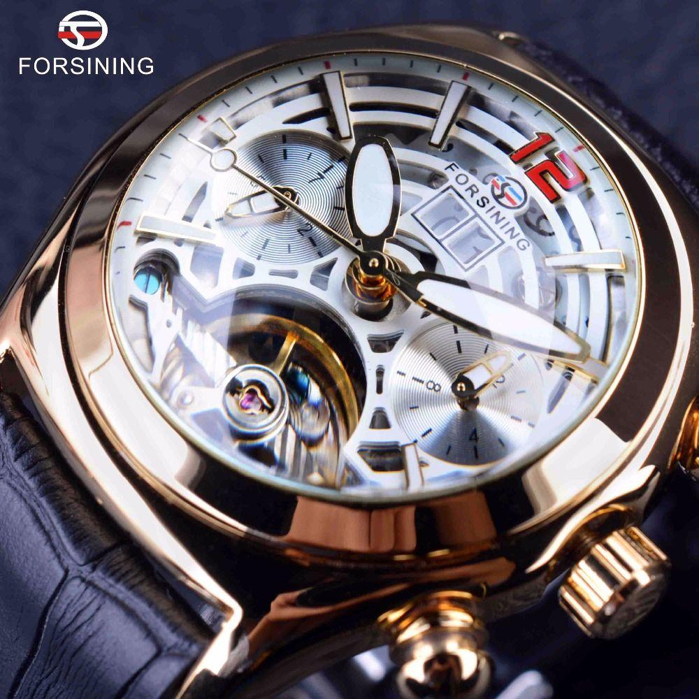 Granining Legend Tourbillion Series 3D Glas Design Echtes Leder Herrenuhr Top Marke Luxusuhr Automatische Männer Armbanduhr