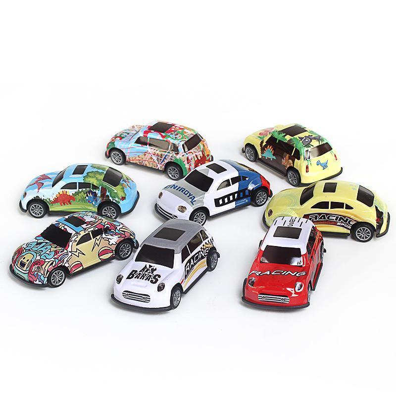 4pcs Boomerang Toy Car Ferro tirare indietro veicoli di modello Discast mini automobile creativo regalo per il bambino ragazzi del bambino giocattoli per i bambini