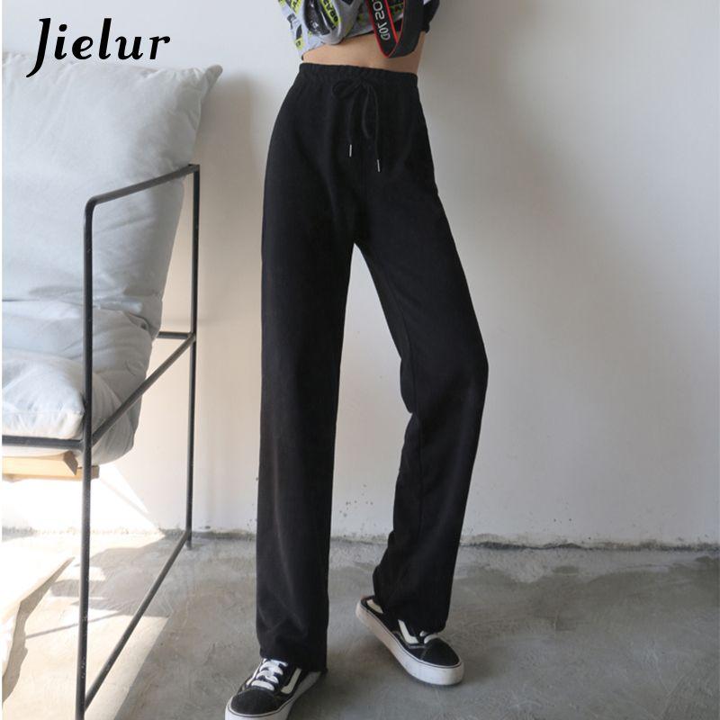 atacado Femme Calças Loose Women Pants magro preto Roupas coreano cintura elástica New Chic Pantalon Verão Calças S-5XL cor sólida