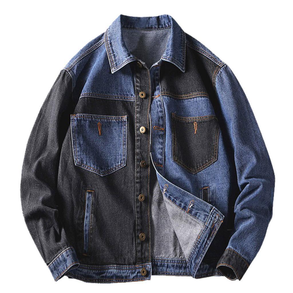 Giacca di jeans degli uomini di Hip Hop del cappotto da uomo Retro mosaico di autunno della molla di abbigliamento alla moda dei jeans del rivestimento maschio Cowboy Cappotti Abbigliamento