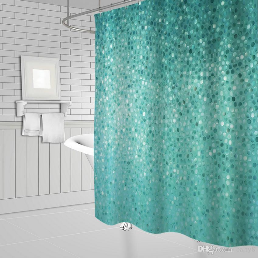 Acheter Bleu Mosaïque Fond Rideaux De Douche De Mode Salle De Bain Décor  Imperméable Polyester Tissu Maison Bain Rideau De Douche Ensemble De $10.41  ...