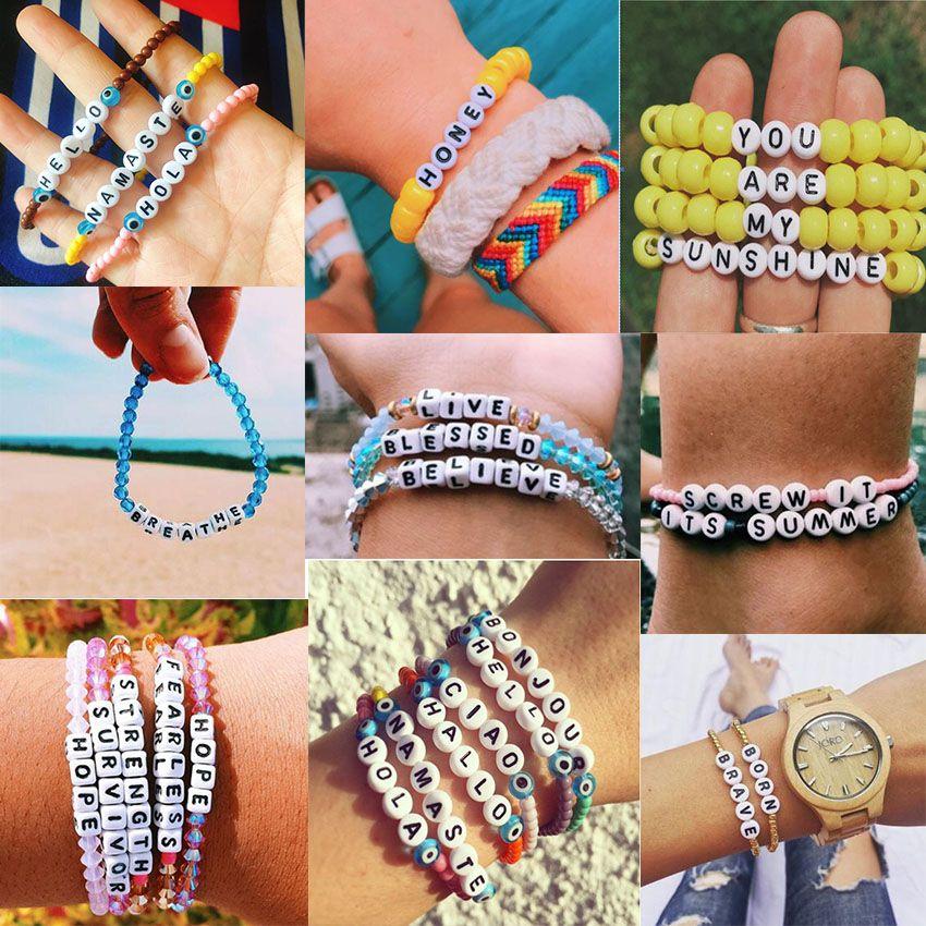 2020 Creative DIY Handmade String Beaded Charm Bracelets ...