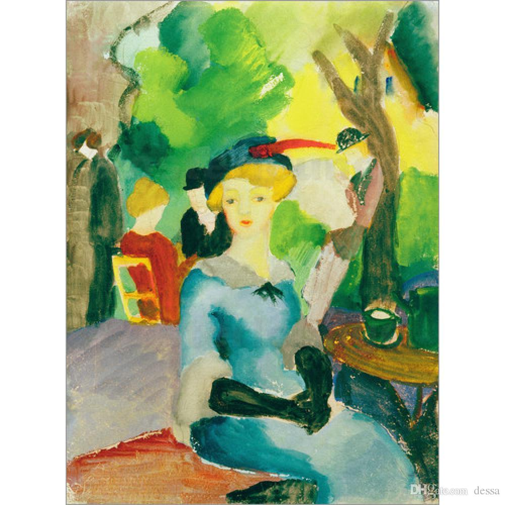 Landscapes paintings abstract wall art Figures in the park August Macke hand painted oil canvas home decor