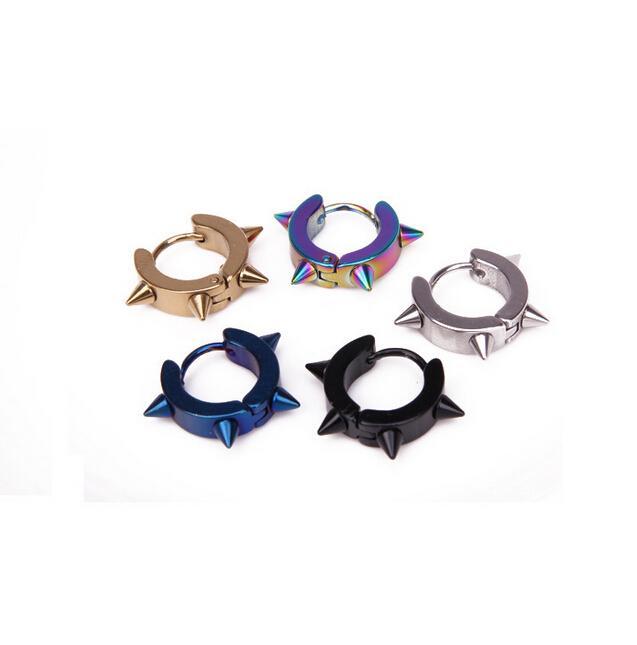 1PCS Fashion Rock Punk Gothic Style Earrings Mens Stainless Steel Taper Hoop Spike Stud Earrings For Men Women Wholesale 1-12070