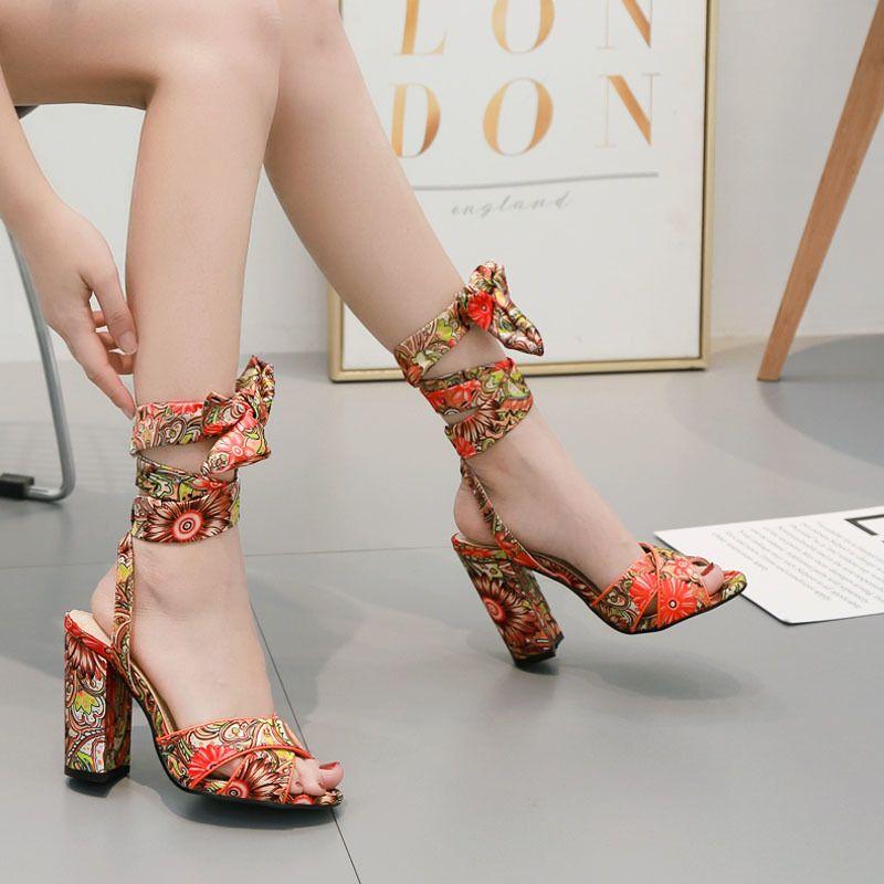 Goddess2019 Women Posimi Second Decorative Pattern Coarse High With Bandage Sandals Woman