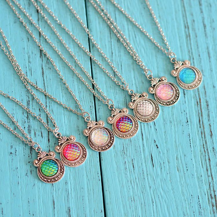 Mermaid Fisch Drusy Druzy Ketten Mermaid Mode-Skala Halskette Silber überzogene Fisch-Skala für Frauen-Dame Schmuck