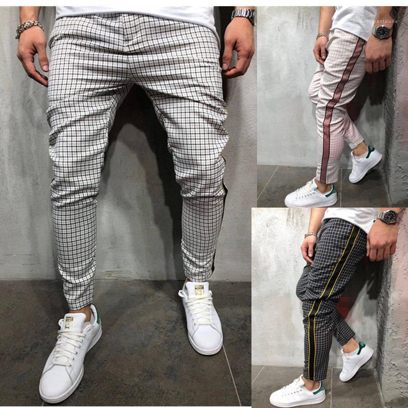Masculino Esporte Calças Lápis Skinny Casual Mens Mens fita Calças Designer calças listradas impressos