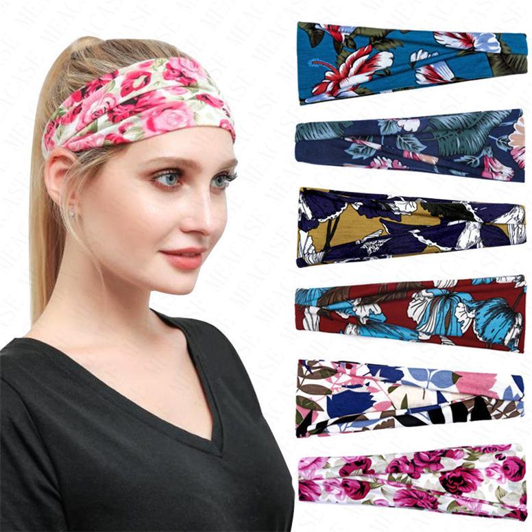 Женщины Цветочные оголовье Спорт на открытом воздухе диапазона волос Hairbands цветка печати потовые впитывающих Ленточнопильные женщин с широкими полями головной убор тюрбан D6903