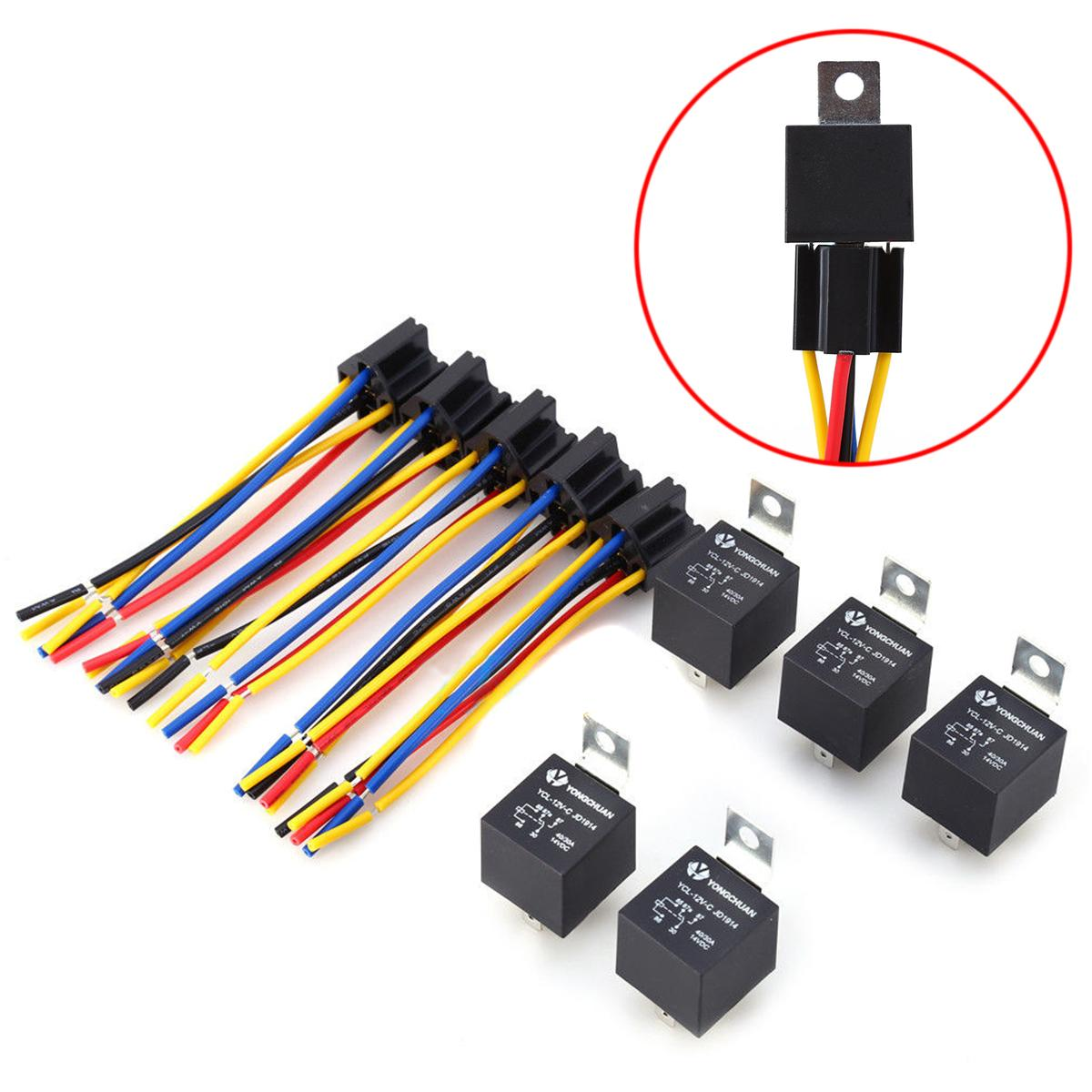 2020 Dc 12v 40a Amp Relay  U0026 Socket Spdt 5 Pin 5 Wire Ycl