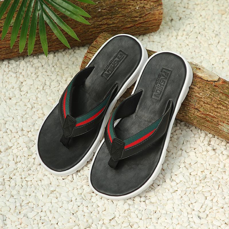 moda confortável flip flops Mens por Homens Sandals almofada de borracha Footbed impermeável ao ar livre Praia de Verão Chinelos antiderrapante