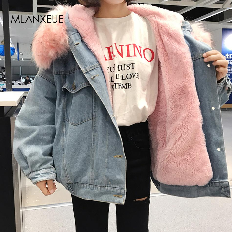 With Fur Trim Hood Cotton Liner Long Denim Jackets Women Winter Hardy Warm Denim Coats Jackets Female Plus Size Loose Outerwear Y200101