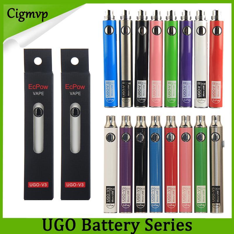 Authentic Evod UGO 650mAh 900mAh Ego 510 Battery 8colors Micro rough USB Charge Pass though E-cig Pen Vape Batteries Vs Vision Spinner Law