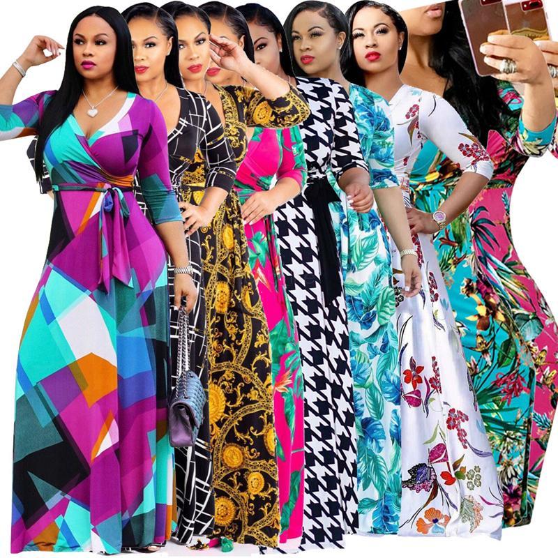فساتين النساء البوهيمي 13styles الزهور عطلة الشاطئ ماكسي 1/2 كم الطابق طول الملابس مثير الصيف سيدة بالاضافة الى حجم الخامس الرقبة اللباس L-JJA2471