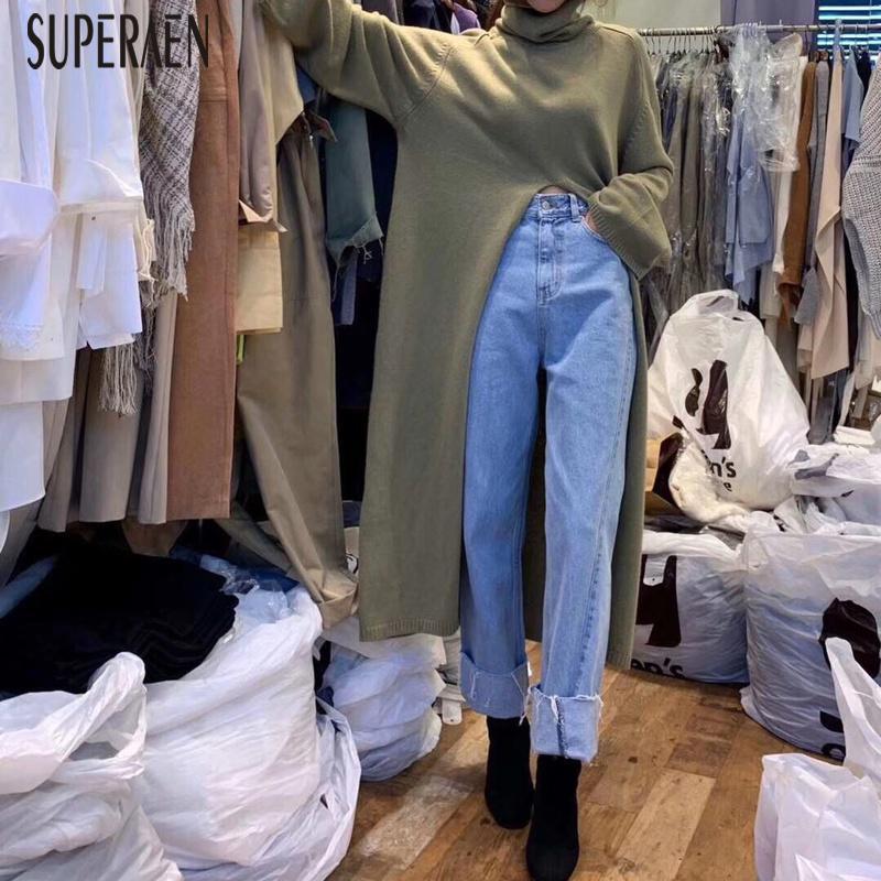 SuperAen Split Knit Top Frauen Frühling und Herbst New 2020 Wilde Turtleneck wilde Damen Pullover mit langen Ärmeln Solid Color Pullover