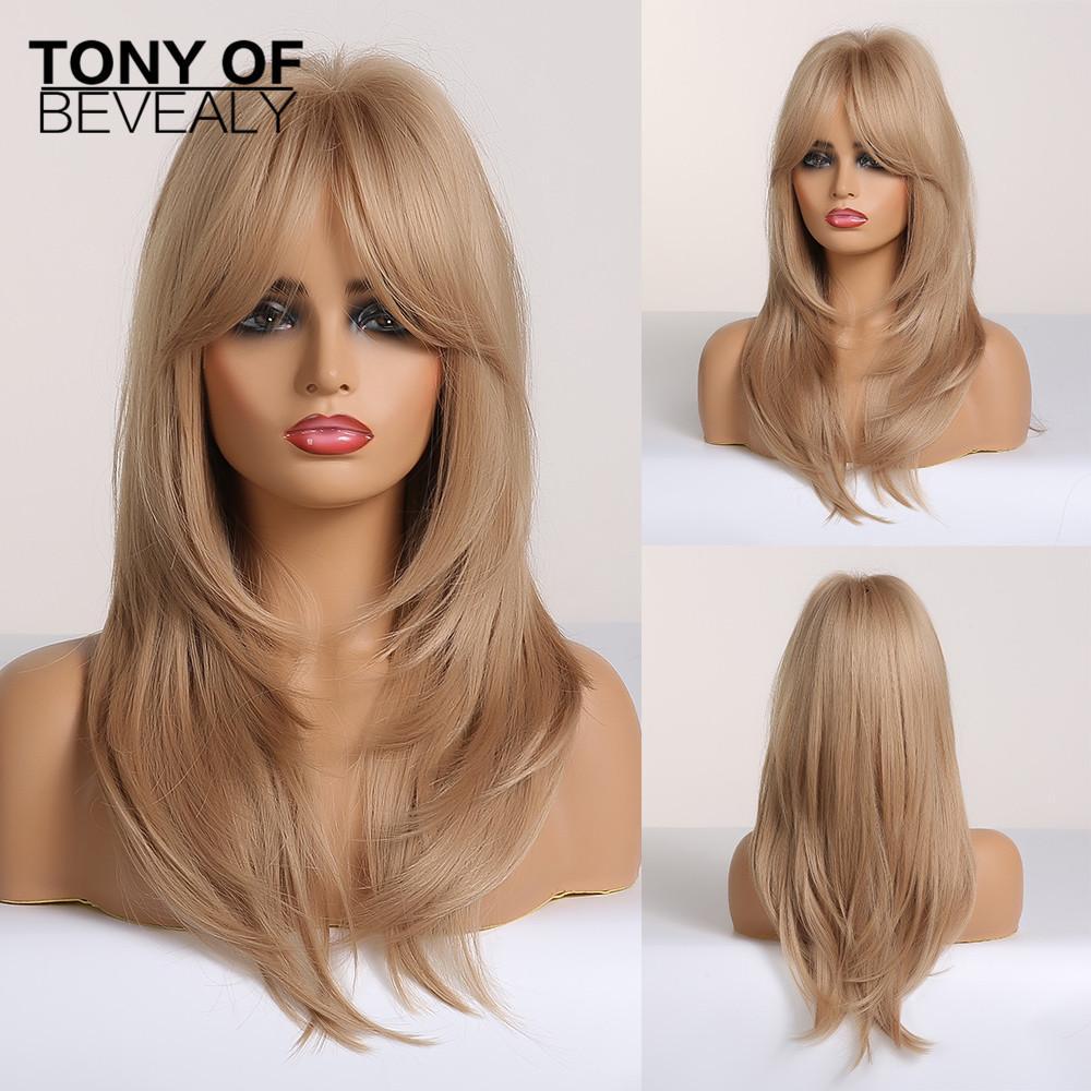 Cheap Sintético Sintético Nenhum-Lace Perucas Longo Ondulado Layered penteado loiro completa perucas com franja por Mulheres Natural Diário resistente ao calor