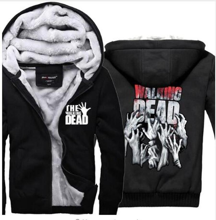 2019 Erkek Sonbahar siyah eşofman Walking Dead Kapüşonlular Zombi Eller Korku Kış Fleece Süper Sıcak Tişörtü ceket T191025 giysi