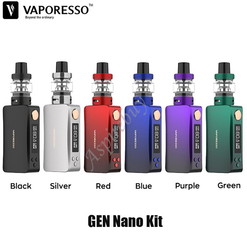 "Vaporesso GEN NANO Kit 80W Box Mod 2000mAh Battery with GTX Tank 22 3.5ml Capacity GTX Coil 0.91"" OLED Display Authentic"
