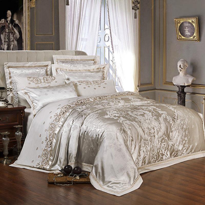 4 قطع الشظية الذهب الفاخر الحرير الحرير الجاكار حاف غطاء الفراش مجموعة الملكة الملك الحجم التطريز السرير مجموعة السرير ورقة مجموعة