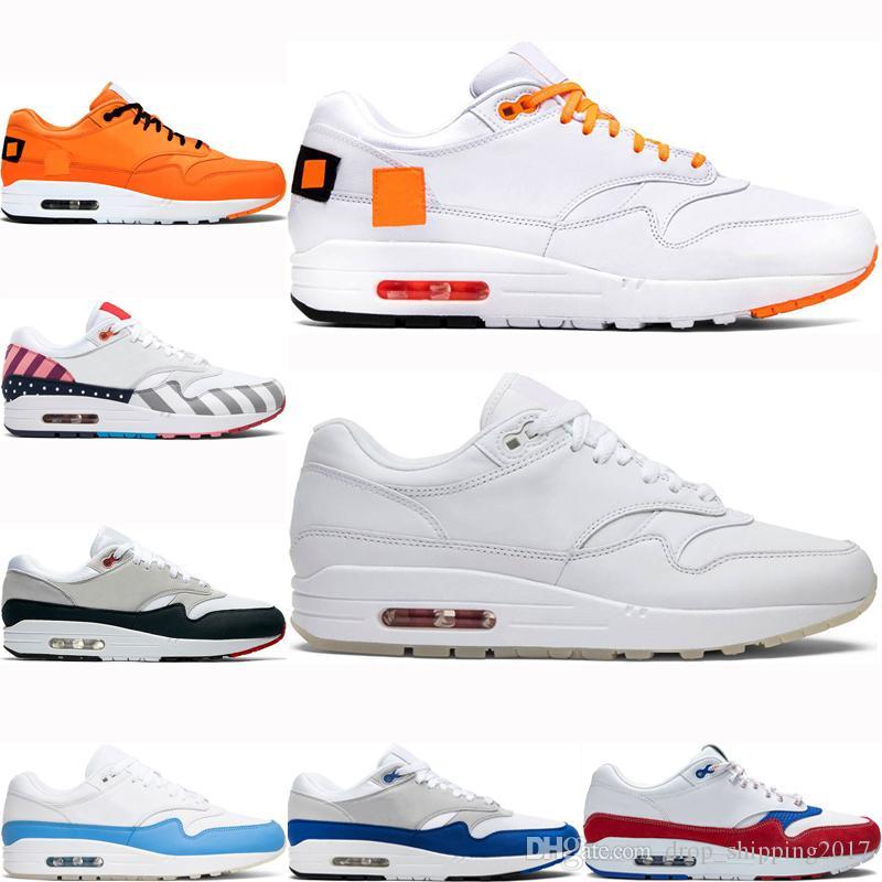 Nike air max 1 Nueva llegada del amortiguador 1 Hombres Mujeres de los zapatos corrientes Aniversario real Patch Atómica Teal Parra Puerto Rico Deportes zapatillas des chaussures