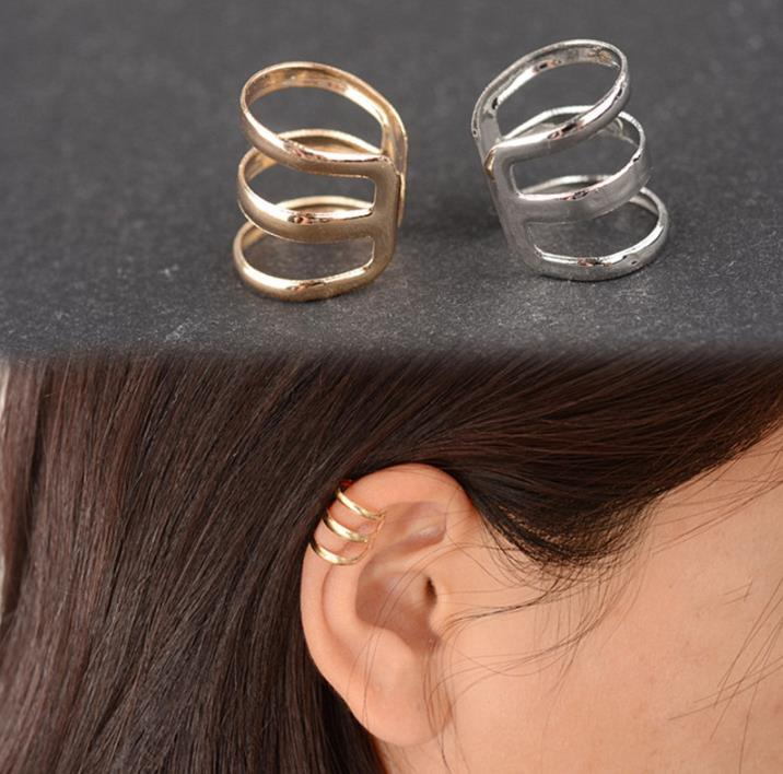 Fashion Punk Rock Ear Cuff Clip On Wrap Pendientes No piercing-Clip On Silver Gold Pendiente para Hombres Mujeres