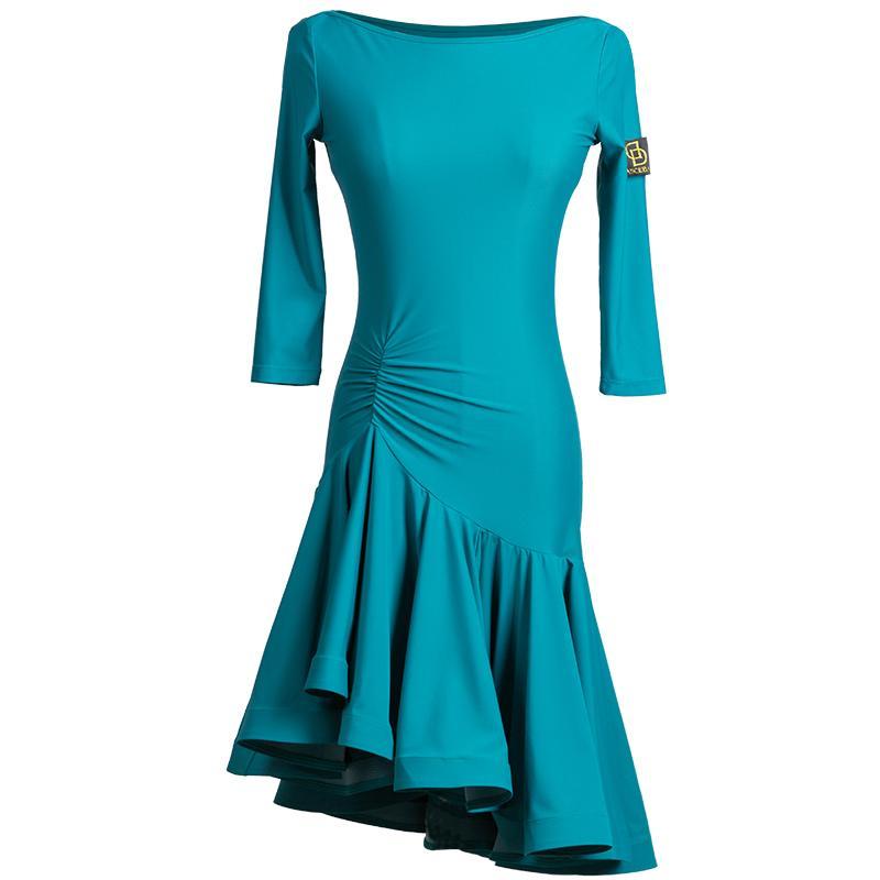 las mujeres latinas trajes de baile niñas vestido latino de la danza desgaste de la salsa para la ropa de baile latina rumba cha cha franja azul