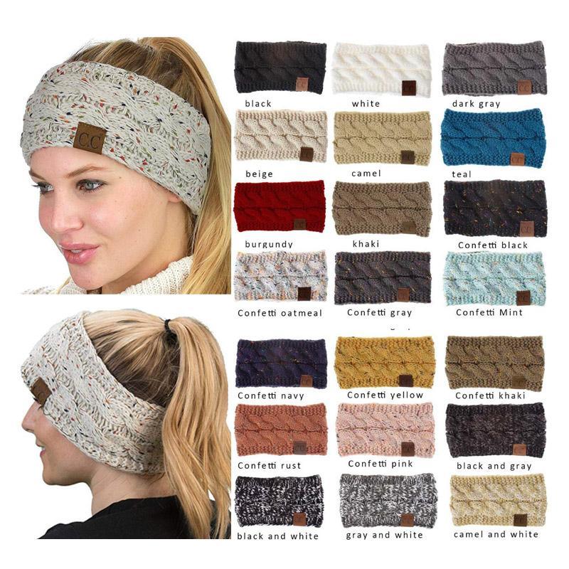 Hilados de algodón colorido Hairband CC torcedura de punto de ganchillo diadema del oído Mujer de invierno más cálido banda para el cabello elástico ancho del pelo Accesorios WD951030