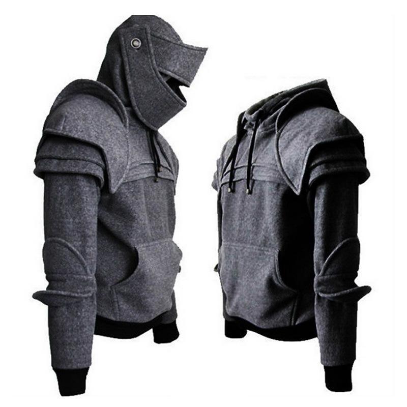 CYSINCOS epoca medievale Cavaliere uomini felpe con cappuccio Soldato Felpa Uomo maschera Armatura costume cosplay Pullover Tops T200508