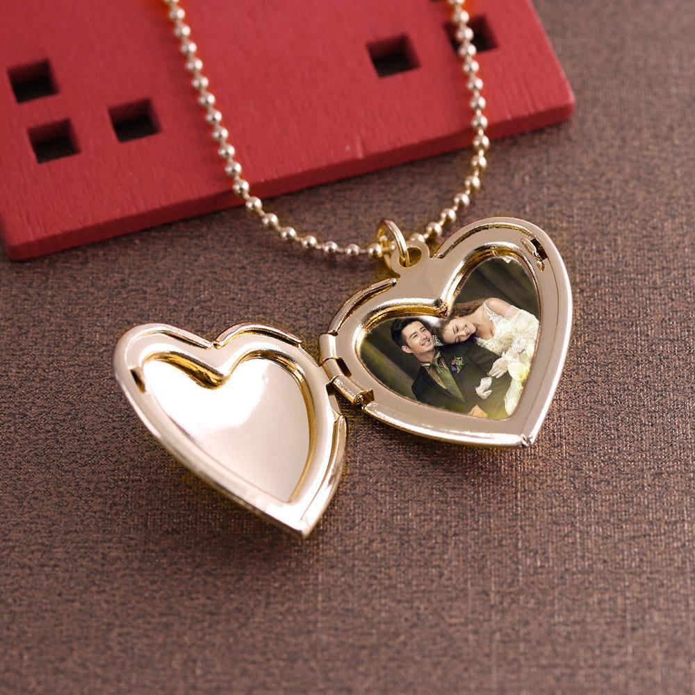 1PC Kalp Kolye Romantik Takı Çift Sevgililer Günü Hediyesi için Friend Fotoğraf Resim Çerçevesi Locket kolye Şeklinde