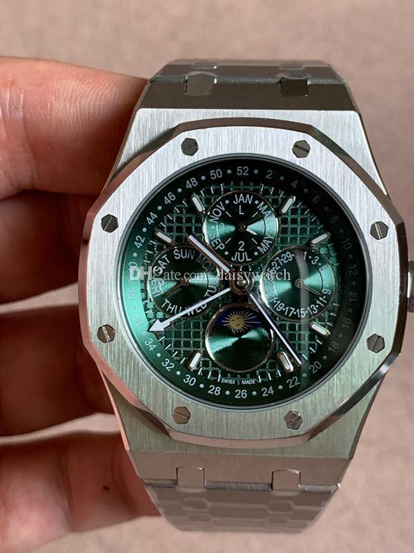 alta calidad del reloj para hombre de negocios Real multifunción 41 mm Zafiro cristal de la máquina reloj automático verde