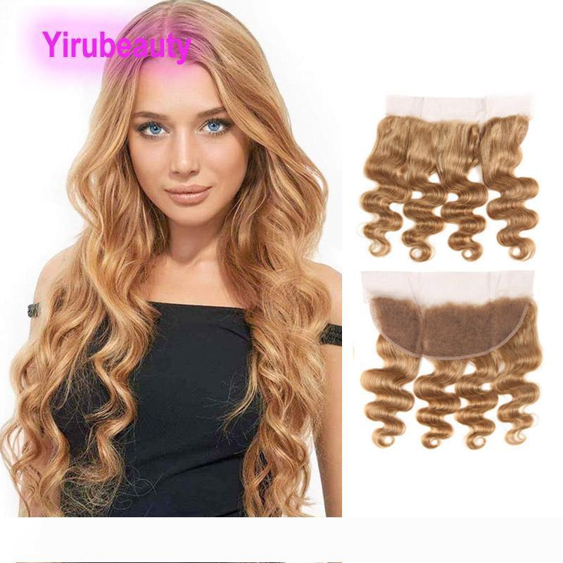 Peruvian Unprocessed Human Hair 13X4 Lace Frontal 27# Color Body Wave Thirteen By Four Closures 27# Honey Blonde Cheap Body Wave