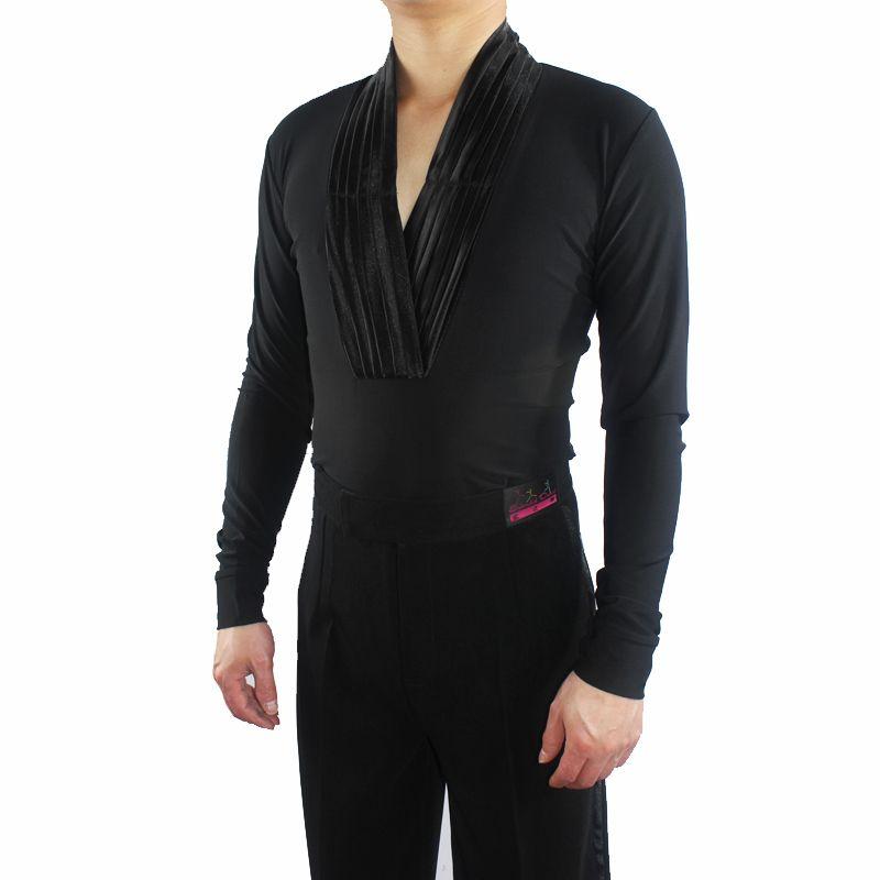Новый стиль мужчины латинский танец топ V-воротник взрослых сальса танго одежда бальные исполнить профессиональный конкурс латинский танец одежда VDB648
