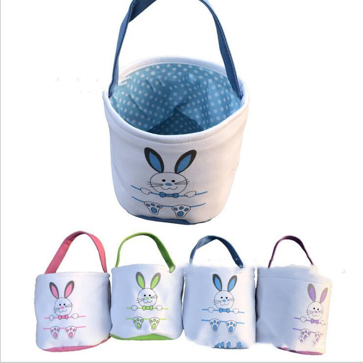 Easter Bucket Easter Bunny Basket Rabbit Ears Printed Baskets Canvas Egg Candies Barrel Carrying Tote Festival Party DIY Handbags Gift B7352