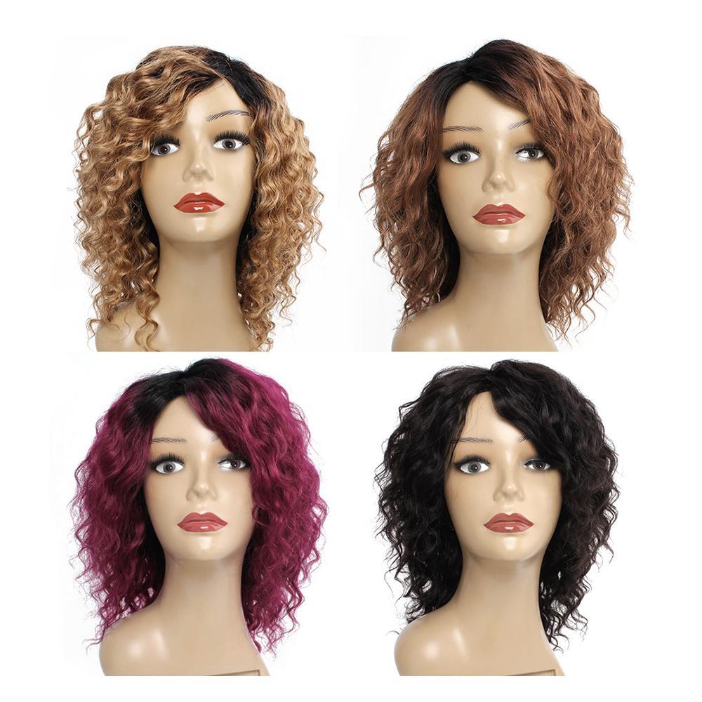 machine fait perruques 10 pouces de cheveux humains indiens du Brésil Kisshair vague profonde de cheveux humains perruque couleur naturelle blond miel brun moyen Bourgogne