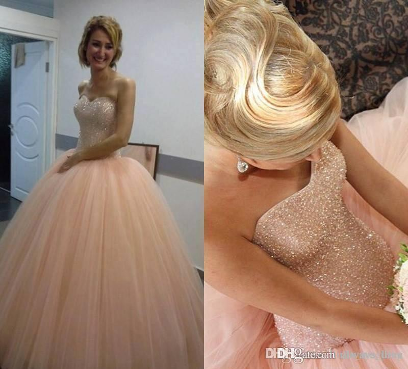 2019 Bling Blush Pink Quinceanera Dress Sweetheart Ball Gowns Tulle Sweet 16 Ages Long Girls Prom Party Pageant Gown Plus Size Custom Made