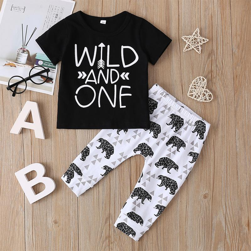Baby Girls Boys Summer Clothes Newborn Boys Short Sleeve Wild One T-Shirt Top+Bear Printing Short Pants Outfit Set
