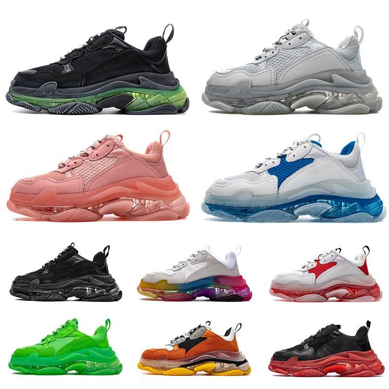 Высокое качество 2020 Новая парижская мода трехместный с Кристал Боттомс папа обувь мужская и женская Повседневная обувь платформы плоским дизайнерские кроссовки тренеры