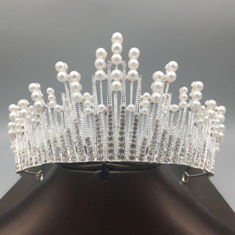 Princess 2019 Pearls Wedding Bridal Tiara Rhinestone Head Pieces Crystal Bridal Headbands Hair Accessories Evening Party Bride Dresses
