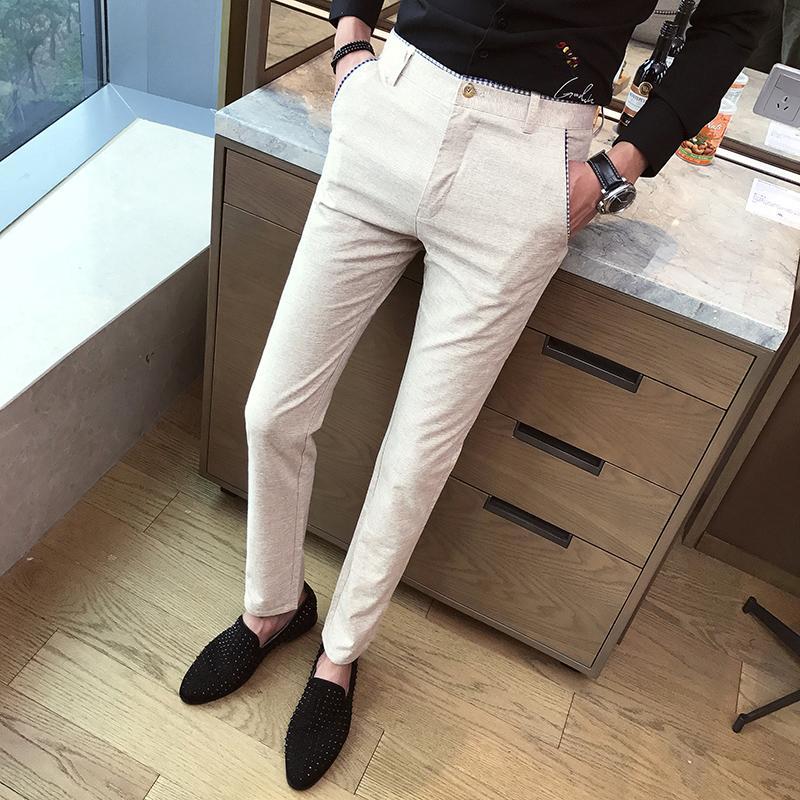 TANG 2019 Bahar Iş Takım Elbise Pantolon Erkekler Büyük Boy Erkek Pantolon 29-40 Moda Ince SuitTrousers Erkekler Elbise Şerit