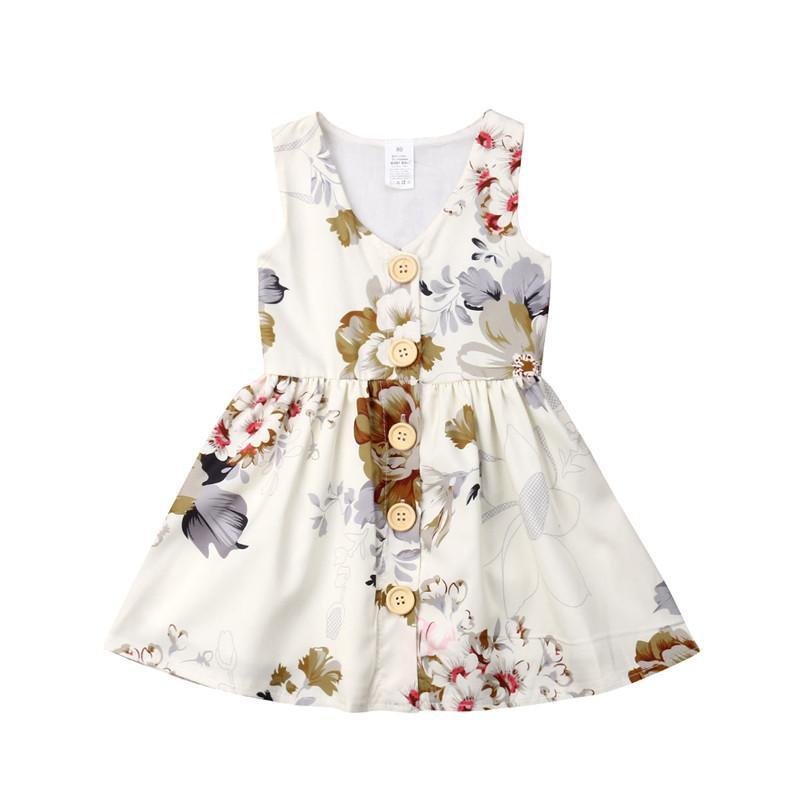 2020 florais nova Criança Crianças Bebés Meninas Botões Princesa mangas vestido de festa roupa Vestidos Verão Vestido de Verão