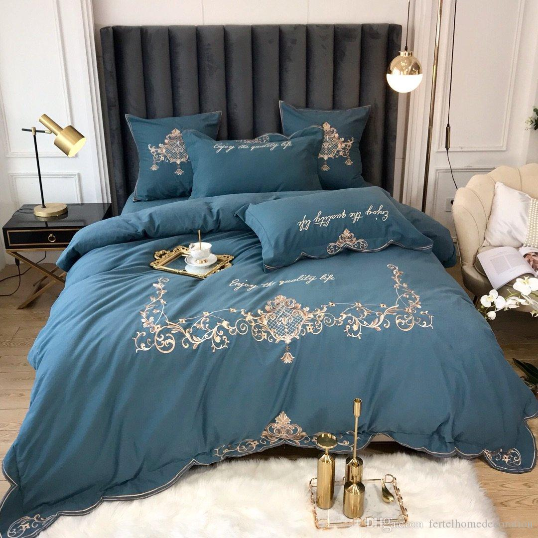 High End Cotton Bedding Set Luxurious Embroidery Cotton Bed Sheet Europe Style Soft Bed Linen King Queen Size 4pcs/set 19011A015