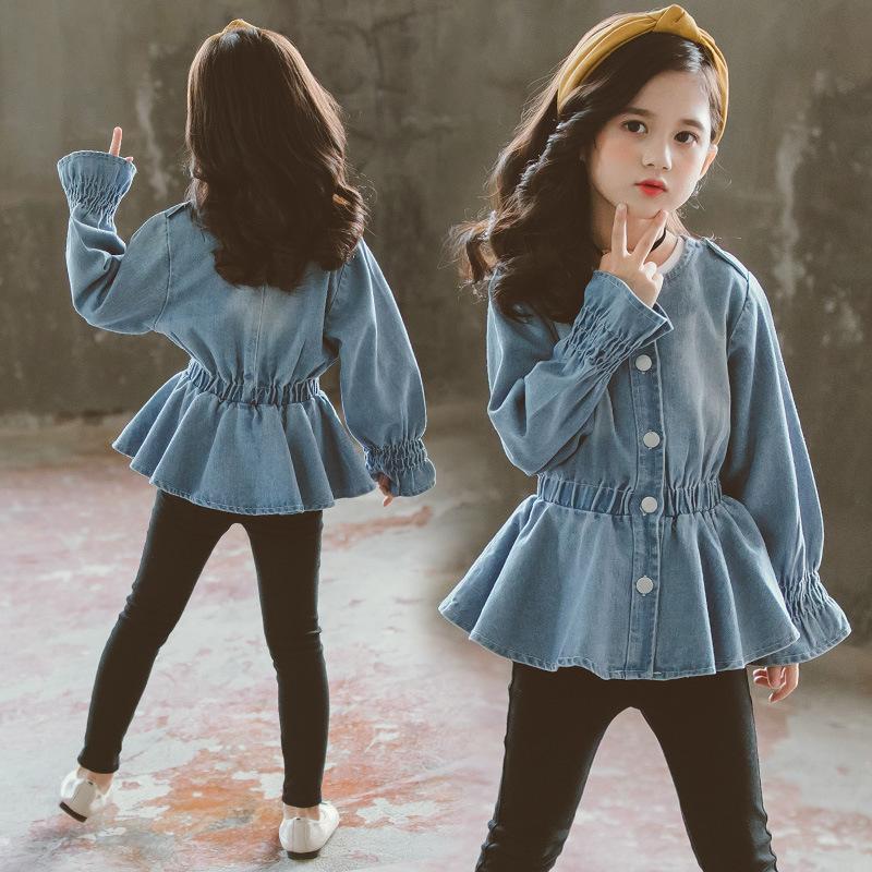 Девушки джинсовые куртки для девочек пальто 2020 Весна моды эластичный пояс подросток Верхняя одежда Куртка Детская Одежда 12 14 года