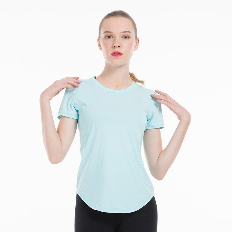 Mujeres de la aptitud de la yoga Running Top de manga corta de secado rápido camisetas de malla entrenamiento del deporte de compresión medias de gimnasio ropa