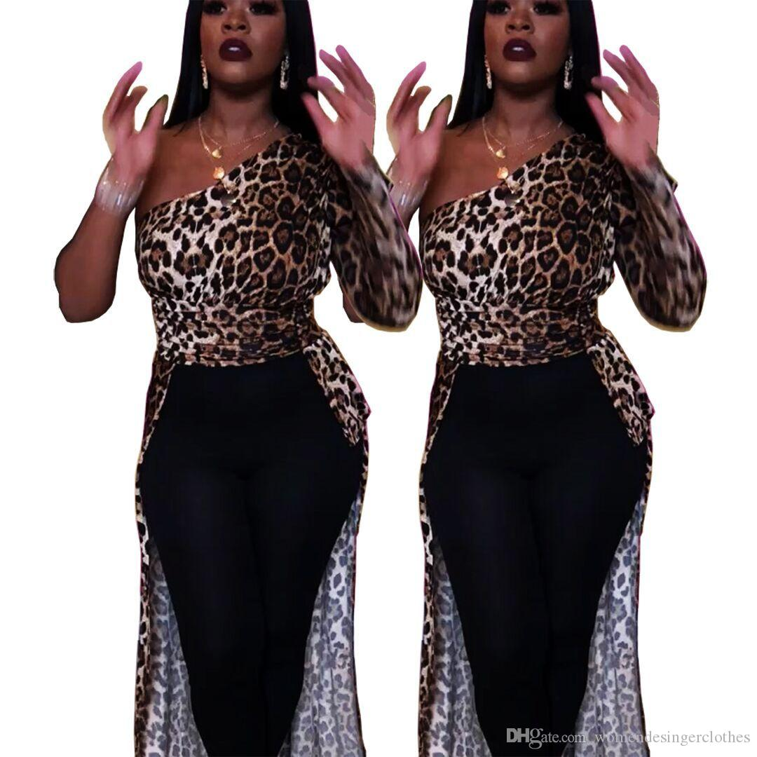 Herbst-Frauen-Designer-T-Shirts Art und Weise Slopping Schulter lange Hülsen-Leopard druckt Asymmetrische Tops beiläufige reizvolle Frauen Kleidung