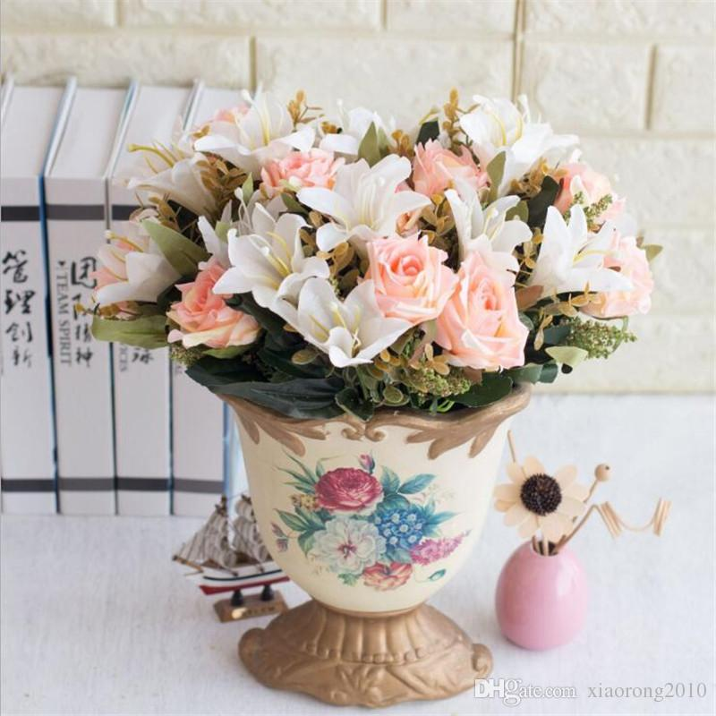 Fake Rose & Lily Bunch (9 stems/piece ) Simulation Roses with Foam Fruit for Wedding Home Decorative Artificial Flowers