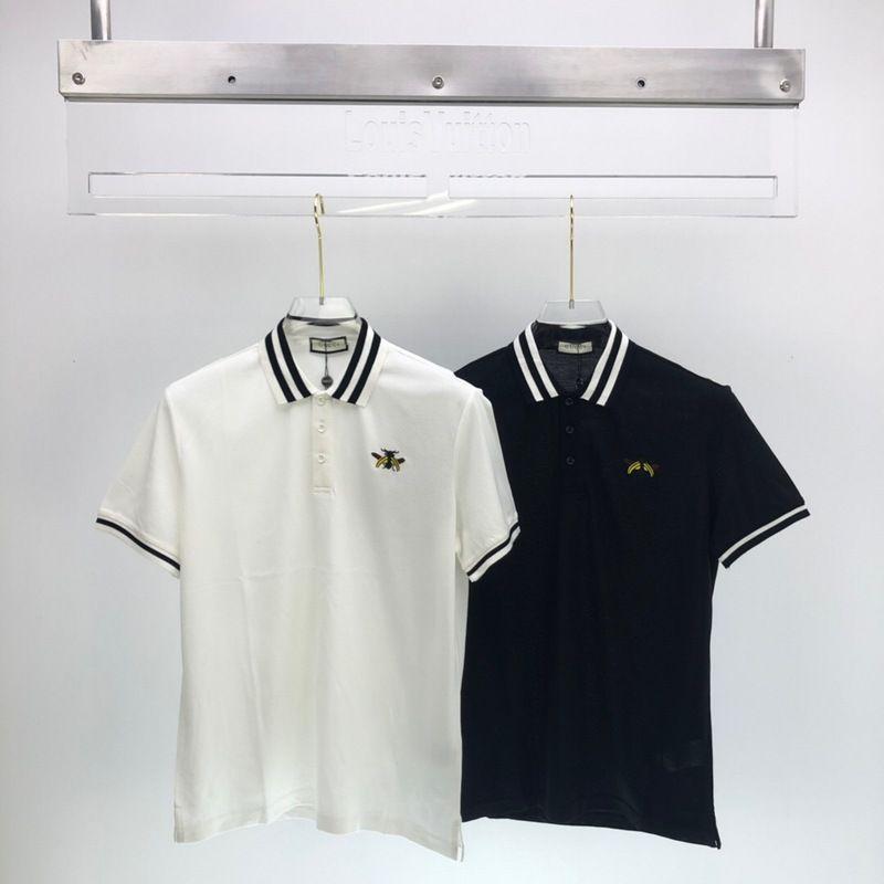 2020 여름 럭셔리 새로운 패션 파리 이탈리아 꿀벌 자수 스트라이프 목 유럽 폴로 티셔츠 남성 여성 T 셔츠 캐주얼 코튼 티 폴로